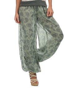 Look at this #zulilyfind! Green Water Paisley Elastic Ankle Pants #zulilyfinds