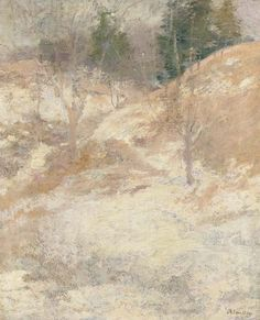 """""""Hemlocks,"""" John Henry Twachtman, ca. 1890s, oil on canvas, 22 x 18"""", private collection."""