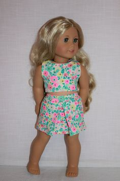 18 inch doll clothes floral print midriff crop by UpbeatPetites