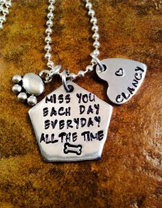 Dog Loss Necklace, Personalized Pet Loss Jewelry, In Memory Of Pet Necklace, Aluminum Jewelry