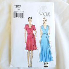 Vogue Patterns V8896 Misses Dress Sewing Template Size B5 8-10-12-14-16 New Wrap #VoguePatterns