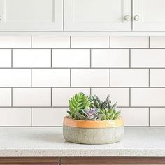 Get the look of classic subway tile with these peel and stick tile panels! The sleek white and grey design is perfect for a modern farmhouse, industrial loft, or minimalist bathroom. No matter your style these sleek high shine tiles are the perfect f Peel Stick Backsplash, Peel And Stick Tile, Peel And Stick Countertop, Tile Wallpaper, Wallpaper Backsplash Kitchen, Backsplash Tile, White Subway Tile Backsplash, Tile Flooring, Backsplash Ideas For Kitchen
