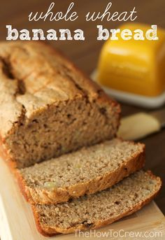 Whole Wheat Low Fat Banana Bread From Thehowtocrew Com No Butter Or Oil And