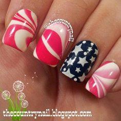 Patriotic Watermarble! 4th of July nails