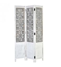 WOODEN SCREEN IN WHITE_BEIGE COLOR 120X2X180