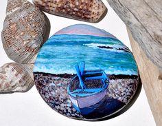 Hand Painted Stone, Fishing Boat, Original Artwork, OOAK, Rock Art
