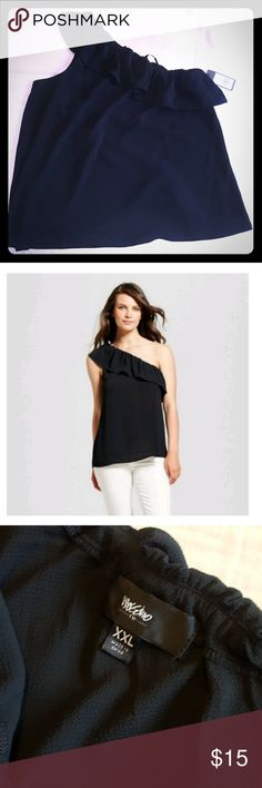 """Mossimo one shoulder ruffled top Mossimo black label dressy one shoulder top. Great to dress up or with jeans. Very sexy either way.  New with tags, never worn. Top is ruffle is elastic so there is a lot of give if you are a DD or larger.  Chest 20"""" - 22""""  👉Price is firm unless bundled 👈 Mossimo Supply Co Tops"""