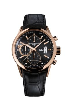 Freelancer 17740-G-20001 Mens Watch - Freelancer automatic chronograph Pink gold on leather strap