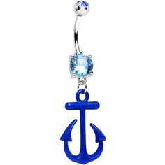 Aqua Gem Nautical Blue Anchor Dangle Belly Ring | Body Candy Body Jewelry