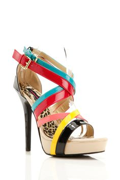 Colorful Crisscross Strappy Sandal Heels.. for you babe-gal