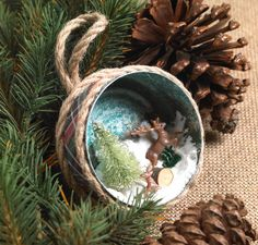 Transform a tuna can into a sweet woodsy diorama with Collage Clay and miniatures.