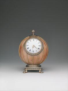 Fabergé--Spherical Clock--Before Workmaster: Mikhail Evlampievich Perkhin (St. Petersburg)--Rose jasper, silver, silver gilt, gold, enamel & glass--The Metropolitan Museum of Art Old Clocks, Antique Clocks, Russian Art, Russian Beauty, Imperial Russia, Objet D'art, Art Object, Metropolitan Museum, Art Decor