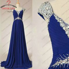 Cap short sleeves crystal and beaded  long ruffled royal blue  chiffon prom / evening /cocktail/ pageant dress for wedding party on Etsy, $109.00