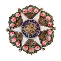 D. Pedro I - Imperial Ordem da Rosa Comenda em prata dourada e esmalte criado pelo decreto