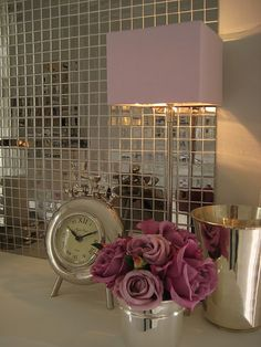 pink flowers and silver wall