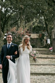 A Bohemian, Backless Gown for a Woodland Wedding in Spain