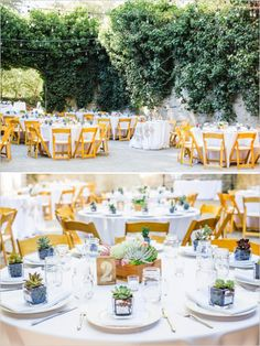 Simple table decor with fresh white linens and simple centerpieces. Captured By: Blueberry Photography ---> http://www.weddingchicks.com/2014/05/15/romantic-wedding-under-the-trees/