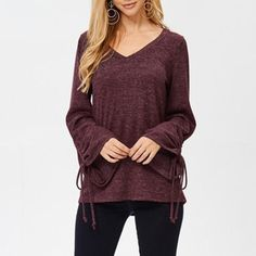 V-Neck Flared Sleeve With Long-Sleeved Slim T-Shirt – Joygos Bohemia Dress, Home T Shirts, Leopard Print Top, High Quality T Shirts, Chiffon Shirt, Jumpsuit Dress, Casual T Shirts, Long Sleeve Shirts, Slim