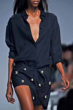 Anthony Vaccarello Spring 2014 // How to draft a convertible collar: http://www.universityoffashion.com/lessons/convertible-collar/