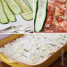 substitute vegan crumbles for ground corpse aka beef or just go without.   Zucchini Lasagna | Skinnytaste