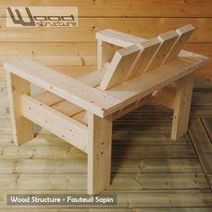 Fauteuil de jardin en sapin du nord fabriqué en France par Wood Structure - Spécialiste en aménagements extérieurs et rampe skate, pour particulier et collectivité