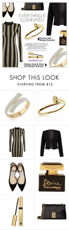 """Good As Gold"" by shambala-379 ❤ liked on Polyvore featuring Balmain, WithChic, Jimmy Choo, Dolce&Gabbana, Estée Lauder and Calvin Klein"