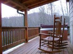 Winter deck scene of Heavenly Hideaway cabin.