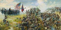 """Railroad Cut""-Dale Gallon.  6th Wisconsin charges Davis's Confederate brigade at the Railroad Cut, Gettysburg, Pa"