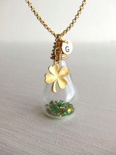 Lucky Shamrock Glass Jewelry Necklace Clover Charm by LycheeKiss, $39.00
