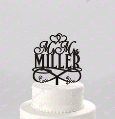 Love You for INFINITY Wedding Cake Topper Personalized with Last Name, Acrylic Cake Topper [CT101mm]