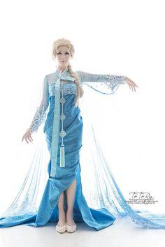 한복 Hanbok : Korean traditional clothes[dress]  Elsa Hanbok Designed by Korean illustrater 흑요석(Obsidian), Cosplayed by Echidna