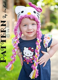 Ravelry: Angel Kitty Hat with Earflaps and Bow - Crochet PDF Pattern pattern by Ira Rott