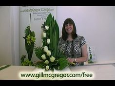 Contemporary Flower Arrangement by Gill McGregor including plaited palm leaves and 'tubing'; one of the techniques presented in Techniques Used In Contem. Contemporary Flower Arrangements, Funeral Flower Arrangements, Church Flower Arrangements, Church Flowers, Funeral Flowers, Floral Arrangements, Art Floral, Floral Design, Flower Shop Network