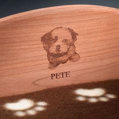 Woodlore Cedar Products - Cedar Pet Bed - Brown - w/ Personalized Laser Engraved Headboard, $79.95 (http://www.woodlore.com/cedar-pet-bed-brown-personalized-laser-engraved-headboard/)