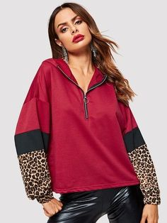 To find out about the Zip Half Placket Leopard Panel Hoodie at SHEIN, part of our latest Sweatshirts ready to shop online today! Best Prom Dresses, Cheap Hoodies, Hoodie Sweatshirts, Fashion News, Look, Cool Outfits, Autumn Fashion, Sleeves, Model