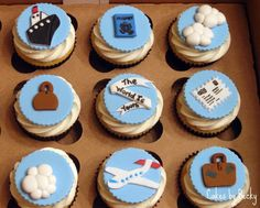 Fun, travel themed cupcakes for a recent graduate! Vanilla bean cupcakes with vanilla buttercream and all fondant/gum paste toppers by Cake Central
