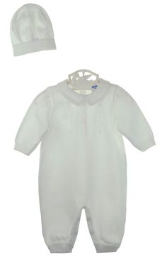 NEW Will'Beth White Cotton Knit Romper and Matching Hat with Knit Detail $70.00
