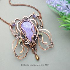 Copper Necklace, Pendant Necklace, Iris Flowers, Wire Wrapping, Polymer Clay, Handmade Jewelry, Floral, Art, Art Background