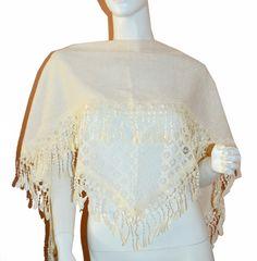 Soft Cream Triangle Knit & Lace Fashion Scarf