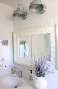 Farmhouse Light Fixtures and Its Pros and Cons : Farmhouse Bathroom Light Fixtures. Farmhouse Bathroom Light, Farmhouse Light Fixtures, Modern Master Bathroom, Modern Light Fixtures, Bathroom Light Fixtures, Country Farmhouse Decor, Farmhouse Lighting, Small Bathroom, Neutral Bathroom