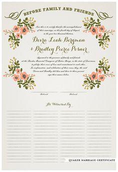 Winter Theme Wedding CertificateSnowflake Wedding Certificates