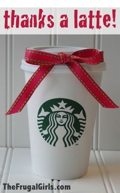 Thanks a Latte! {creative way to package up coffee gift cards!} ~ from TheFrugalGirls.com #giftcards #gift #ideas
