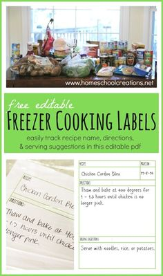 FREE freezer cooking labels and links to 22 freezer recipes for the crock pot, oven, and stovetop | homeschoolcreations.net #freezercooking