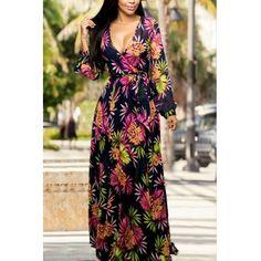 USD11.99Trendy V Neck Long Sleeves Floral Print Chiffon Beach Ankle Length Dress