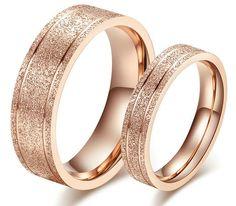 Couple Rings New Dull Polish Couple Rings rose gold Titanium Engagement Ring Wedding Bands ring Free Engraving