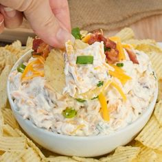 loaded baked potato dip- sour cream (could use Greek yogurt), bacon, cheese,  green onions or chives
