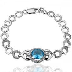 Swarovski Crystal - Blue Diamond In Silver Bracelet  From Crystaljewelryuk.com