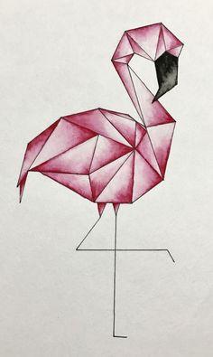Geometric flamingo watercolor Geometric flamingo watercolor The post Geometric flamingo watercolor & Aquarell appeared first on Geometric paint . Art Drawings Sketches Simple, Pencil Art Drawings, Easy Drawings, How To Draw Flamingo, Flamingo Art, Flamingo Drawings, Flamingo Tattoo, Geometric Drawing, Geometric Art