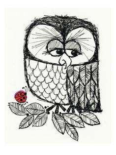 Retro Black and White Owl with Ladybug Allposters.se