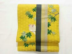 This is a vintage Nagoya obi with white birds on kaede branch design